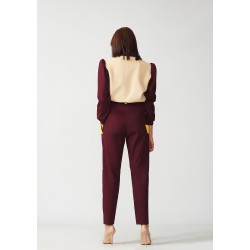 Cotton banana trousers with yellow pockets