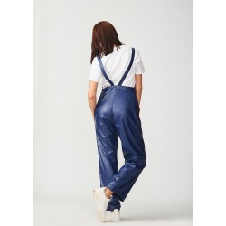 Classic hand-painted leather jumpsuit with suspenders