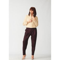 Set of short cashmere coat and banana cotton trousers