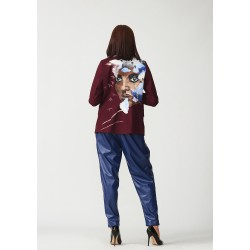 Set of hand-painted blazer and banana leather trousers