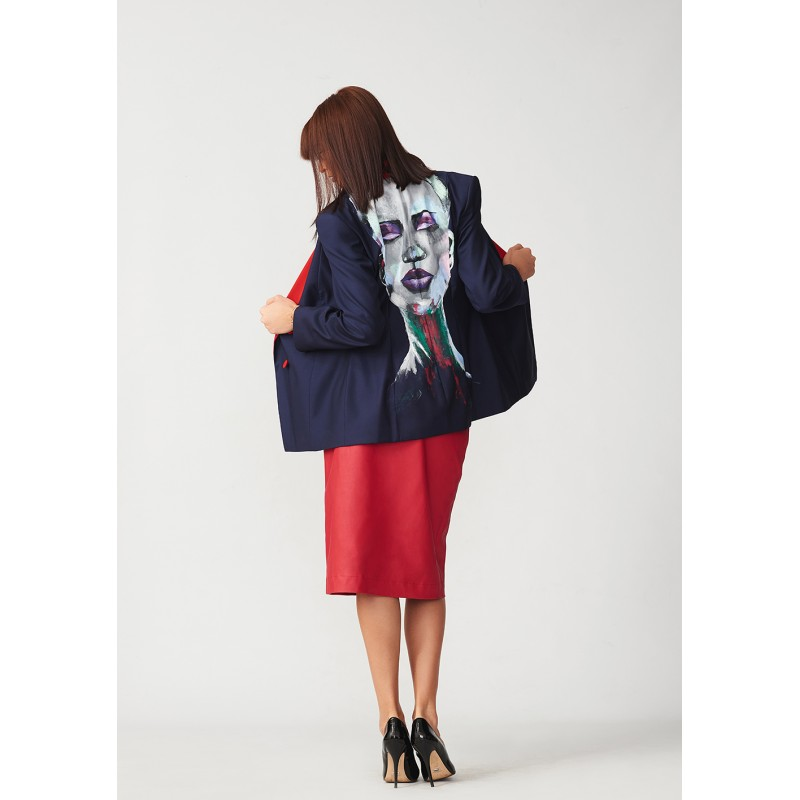 Set of hand-painted tuxedo style jacket and straight leather skirt
