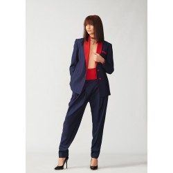Set of hand-painted tuxedo jacket with pocket and banana trousers with red belt