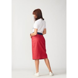Straight leather skirt with a control front slit