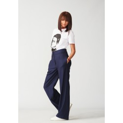 Navy blue wool trousers
