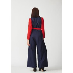 Wool jumpsuit with lapel