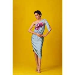 A-line hand-painted satin silk dress