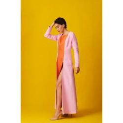 Linen overcoat dress with double slits