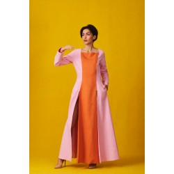 Linen overcoat dress with double slits