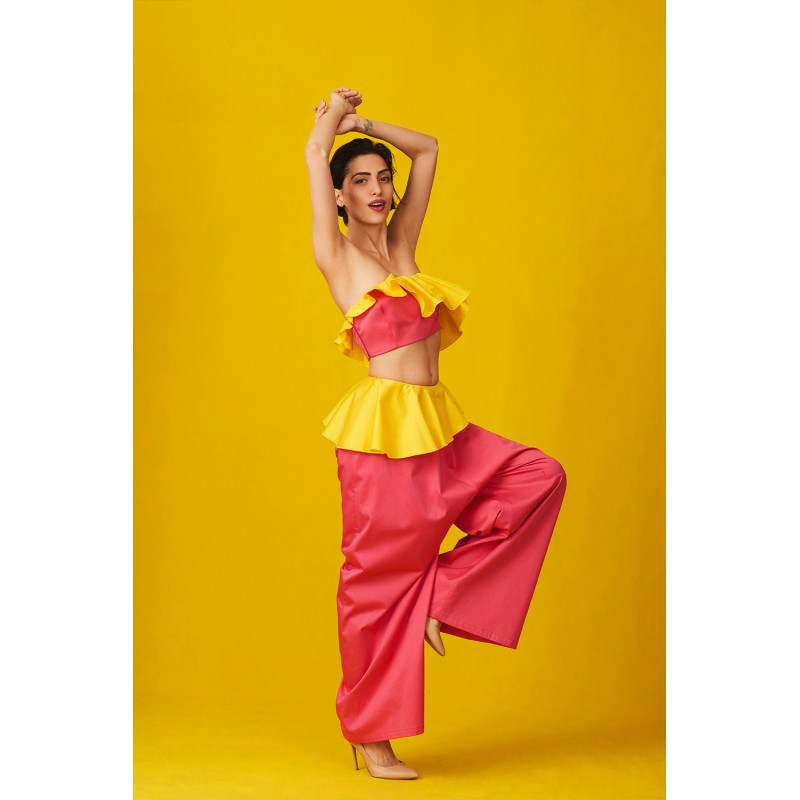 Coral set of bustier and trousers with yellow peplum