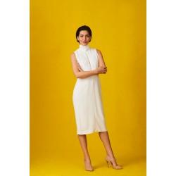 Elegant white silk dress