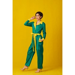 Green cotton jumpsuit with volume trouser legs