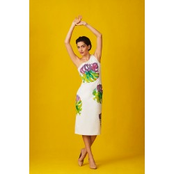 Elegant hand-painted dress with one shoulder strap