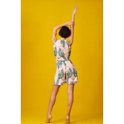 Short silk jumpsuit