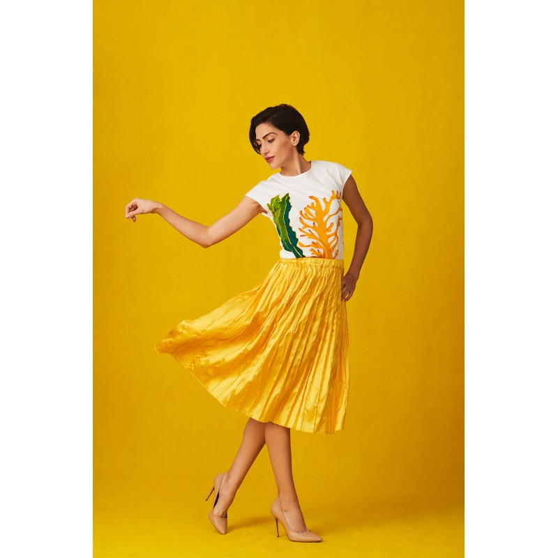 Set of T-shirt seabed and yellow silk skirt