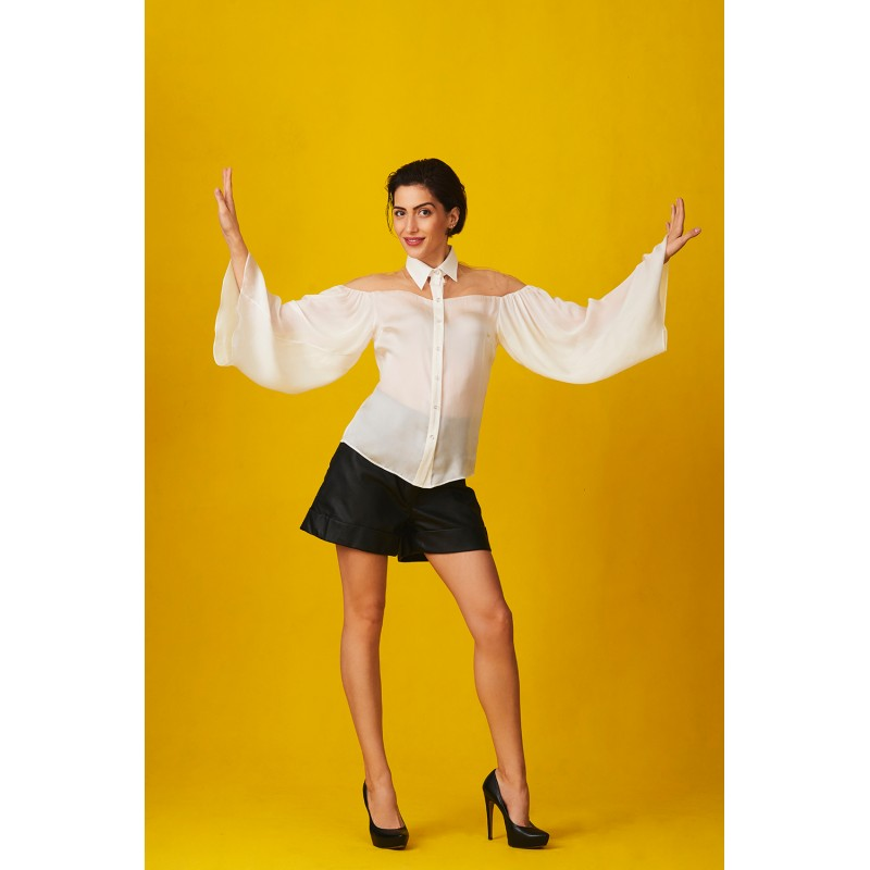 White silk shirt with bell sleeve