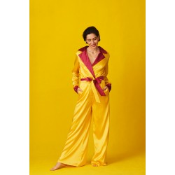 Yellow silk jumpsuit