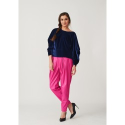 Set of velvet blouse with draped sleeves and banana leather trousers