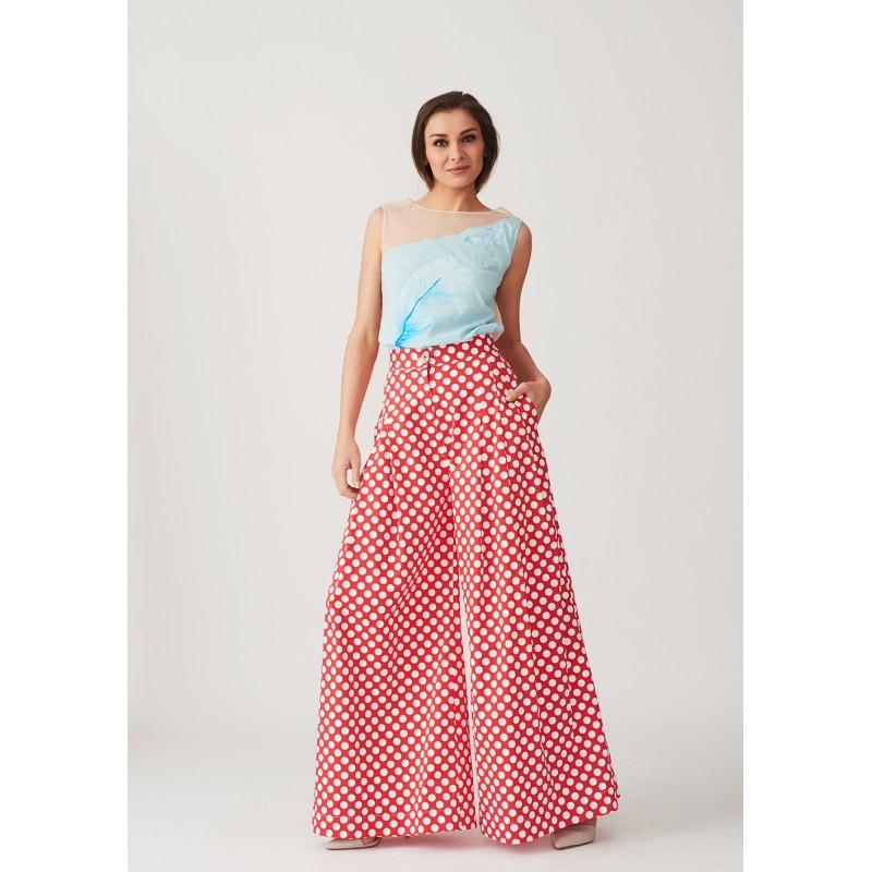 Wide cut polka dots trousers