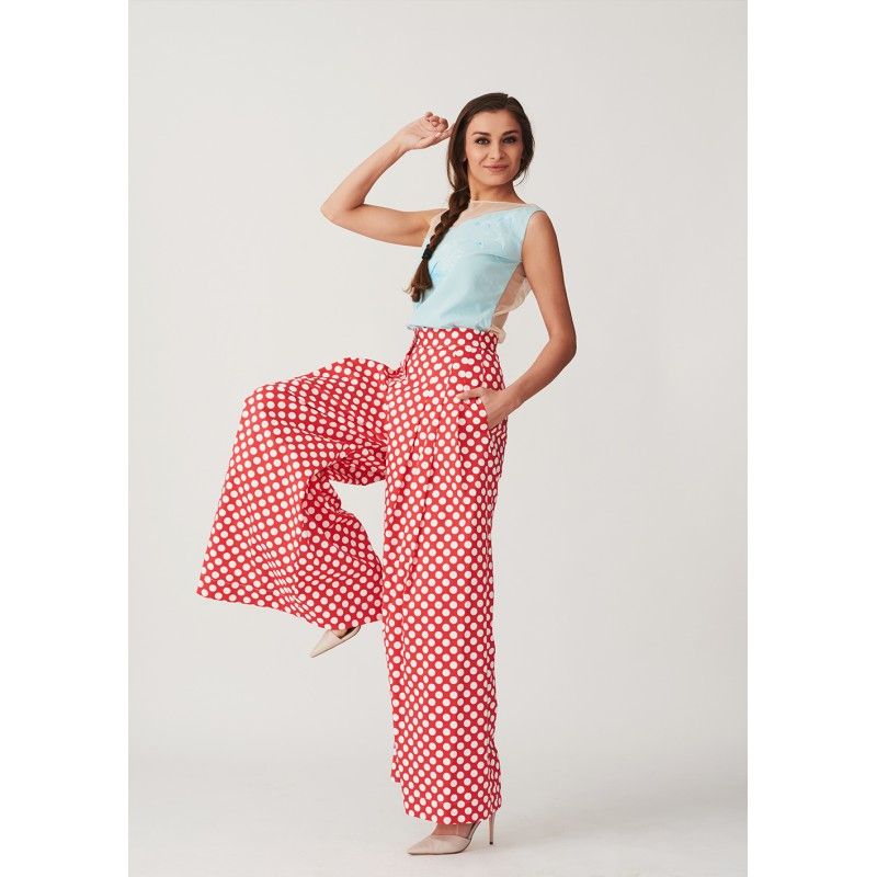 Set of hand-painted silk blouse and wide cut polka dots trousers