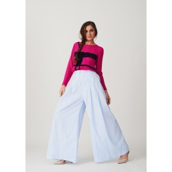 Set of fuchsia silk blouse and wide cut striped trousers