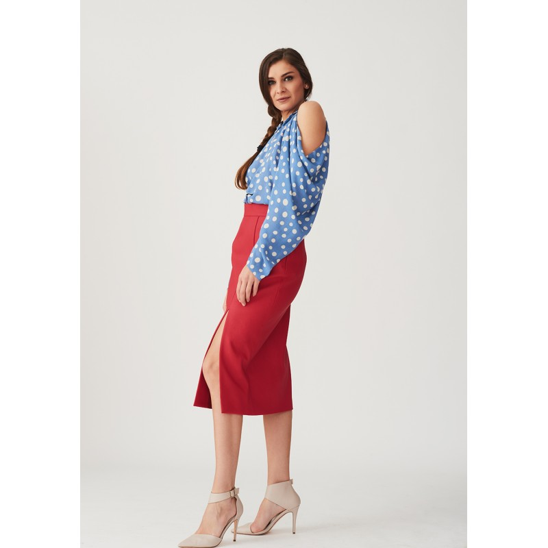 Set of polka dots shirt with bare shoulders and straight leather skirt with deep slit