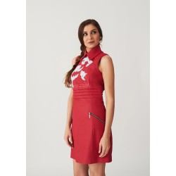 Hand-painted leather dress with a collar