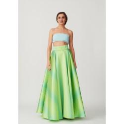 Rich silk skirt with a narrow strip