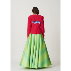 Set of hand-painted jacket with inverted collar and rich skirt with a narrow strip