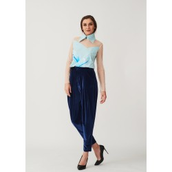 Hand-painted silk blouse with voluminous collar