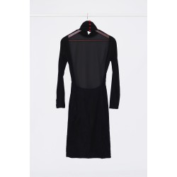Velvet dress with polo collar